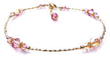 Liquid Gold 14K Beaded Anklets with your Birthstone or Anniversary Month Gemstone.